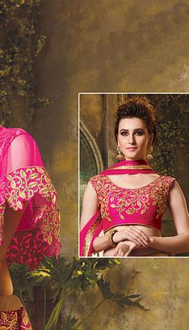 Pink Net And Art Silk Lehenga