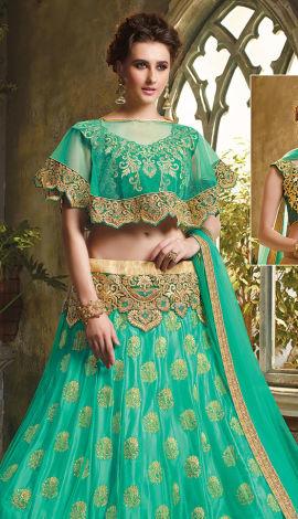 Green Net And Art Silk Lehenga