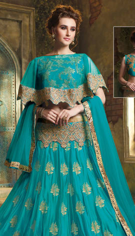 Blue Net And Art Silk Lehenga