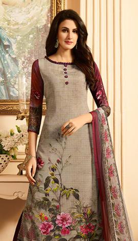 Grey Heavy Sorer Crepe Digital Printed Salwar Kameez