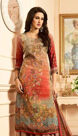 Multi Heavy Sorer Crepe Digital Printed Salwar Kameez