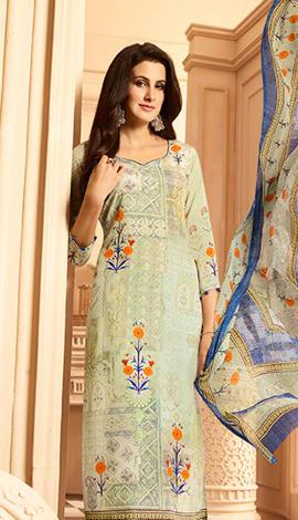 Cream Heavy Sorer Crepe Digital Printed Salwar Kameez