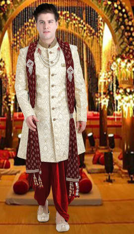 Maroon Brocade Men