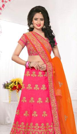 Pink Silk Lehenga