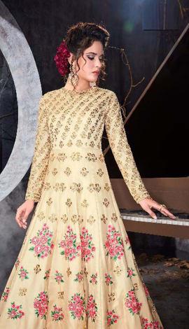 Beige Silk Saree