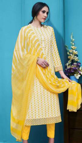 Yellow Cambric Salwar Kameez
