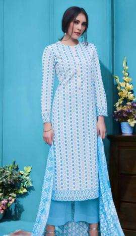 Blue Cambric Salwar Kameez