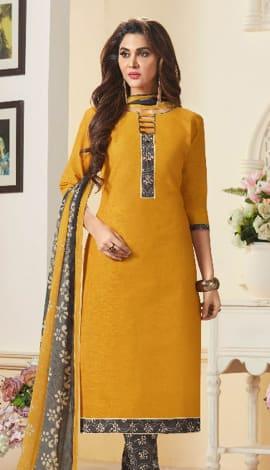 Gold Cotton Salwar Kameez