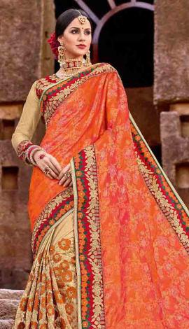 Orange Lycra Saree
