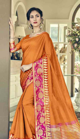 Orange Cotton Silk Saree