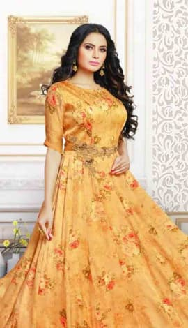 Yellow Satin Gowns