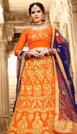 Orange Net Kurti