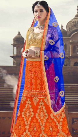 Orange Net Lehenga