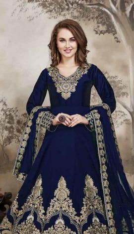 Blue Tafeta Salwar Kameez