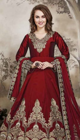 Red Tafeta Salwar Kameez