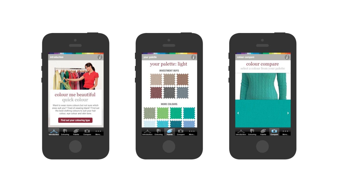 Various screenshots of the 'Colour Me Beautiful' iOS app.
