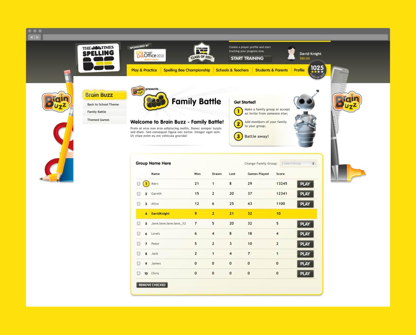 Desktop site showing the 'Family Battle' league table.