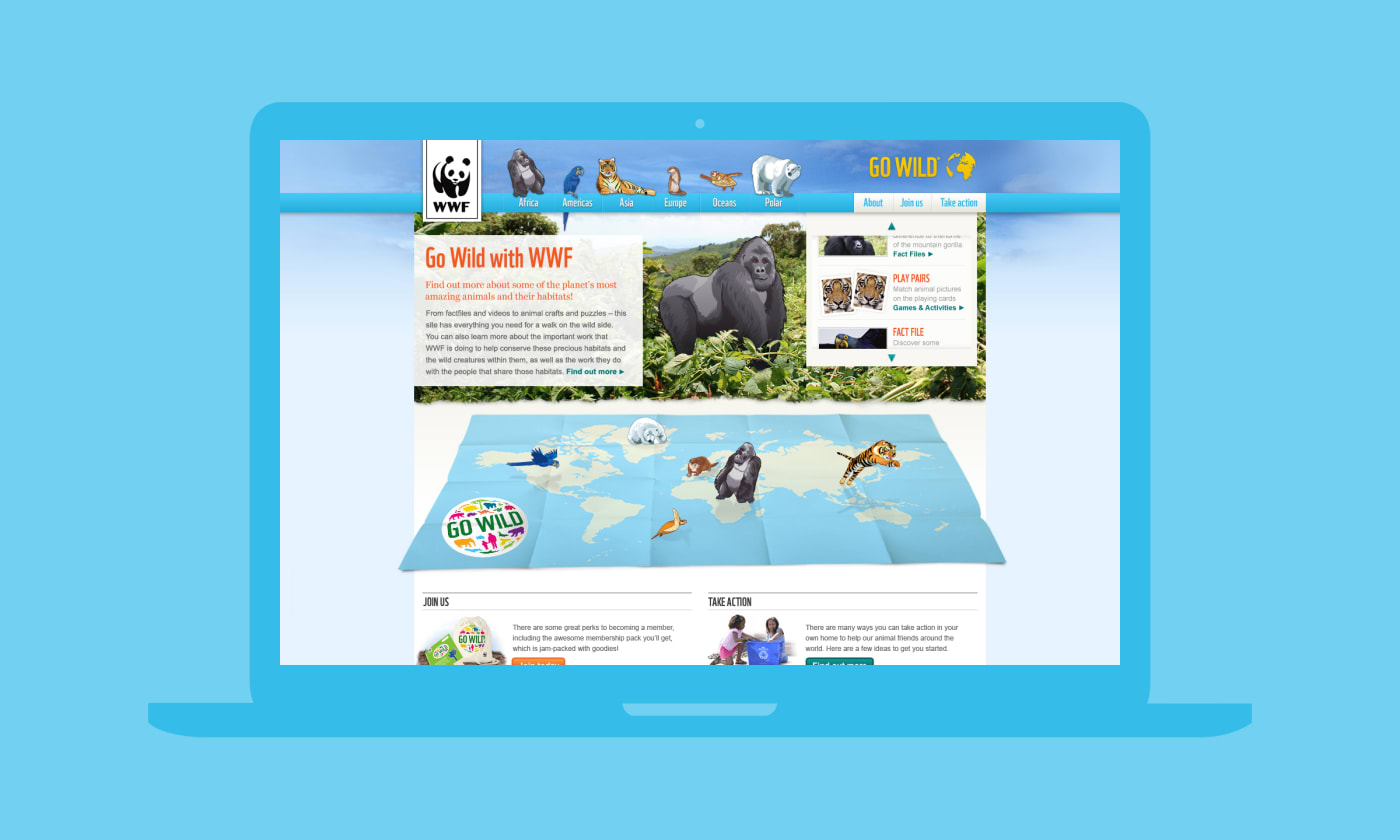 A section of the home screen from the 'WWF – Go Wild' desktop website.