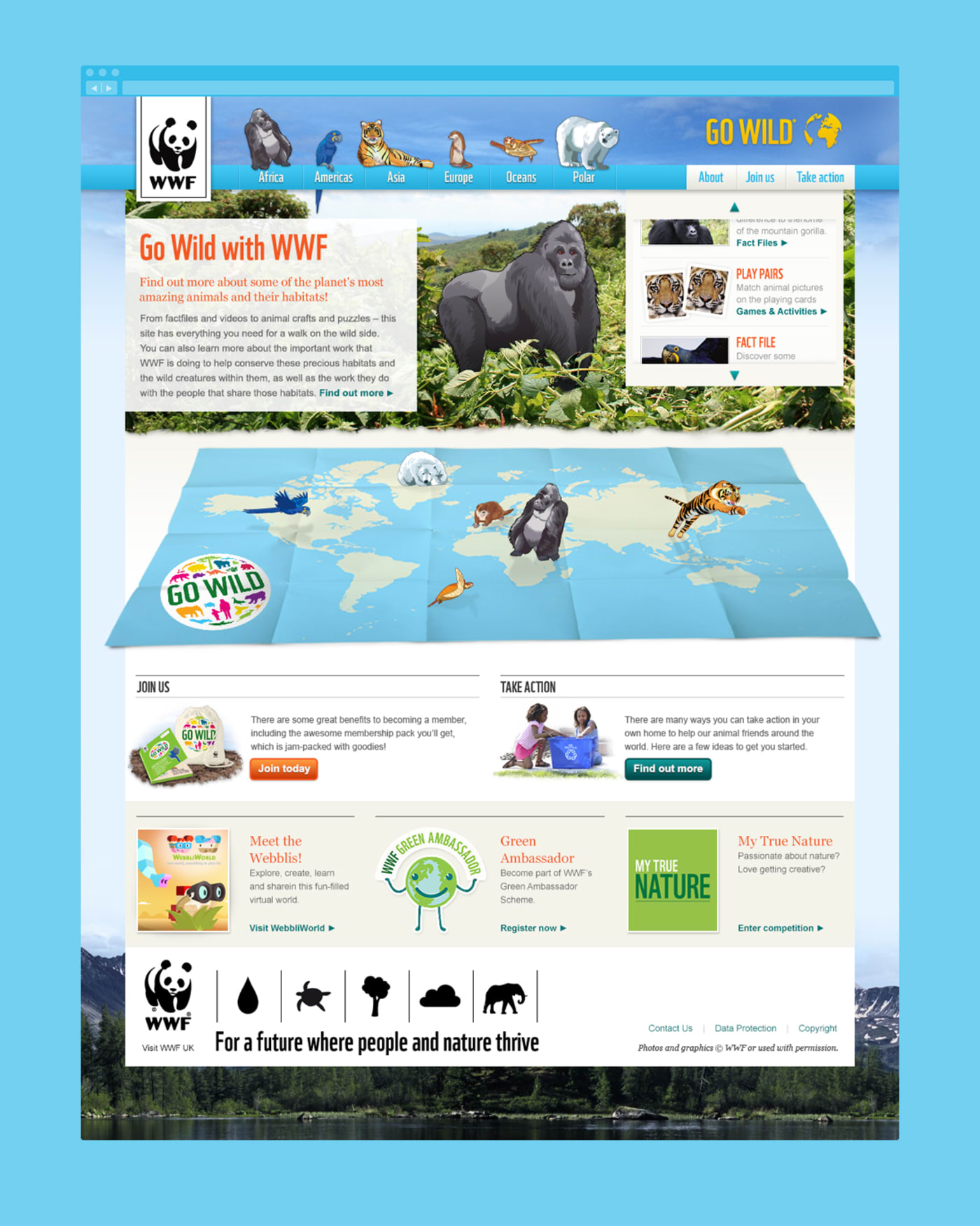 A full screenshot of the 'WWF – Go Wild' home screen.