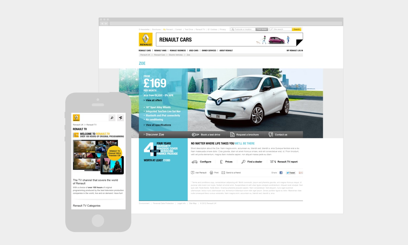 A montage of mobile and desktop screenshots showcasing designs made for the Renault UK website.