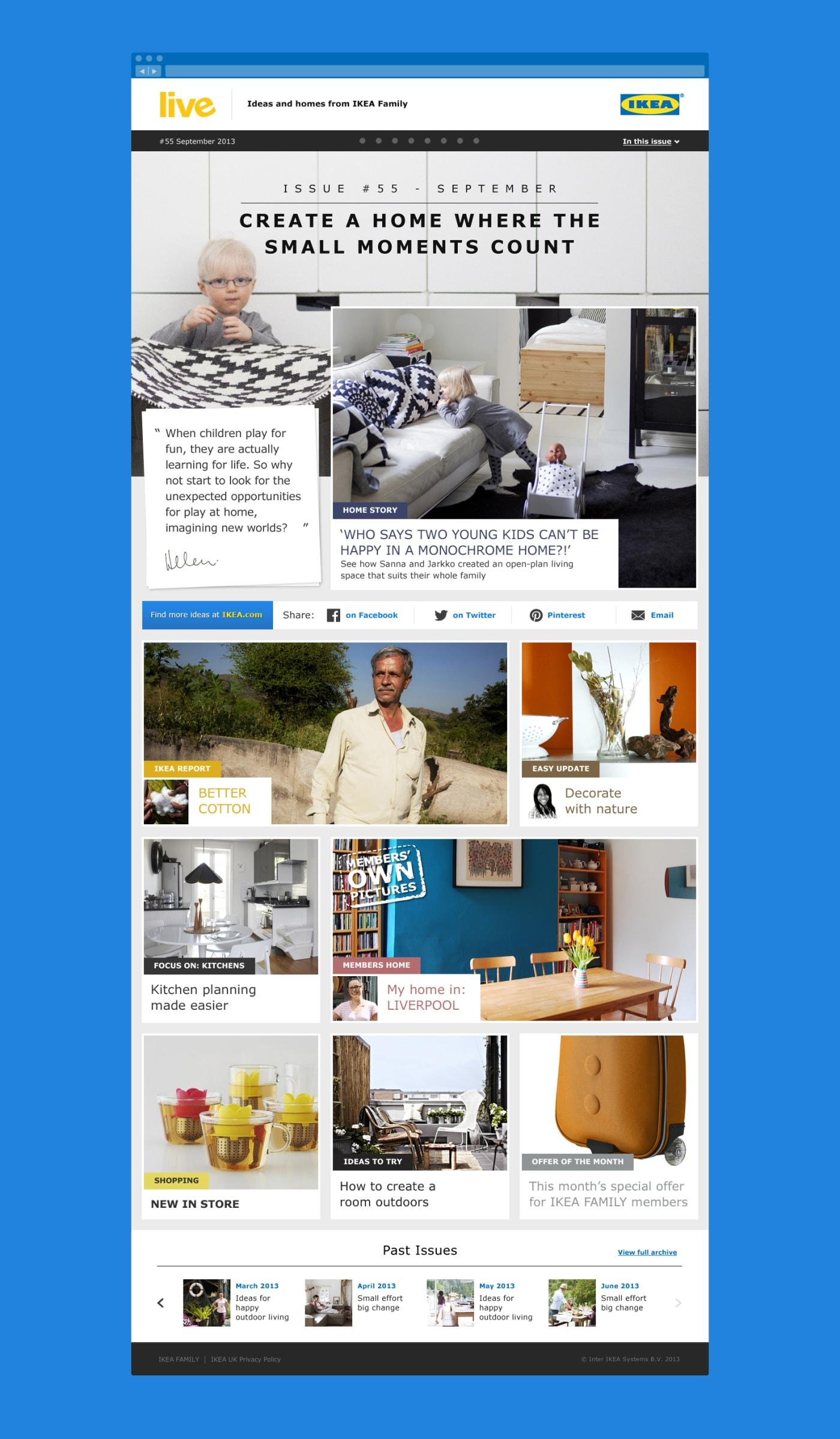 A screenshot of the IKEA Family Live home screen.