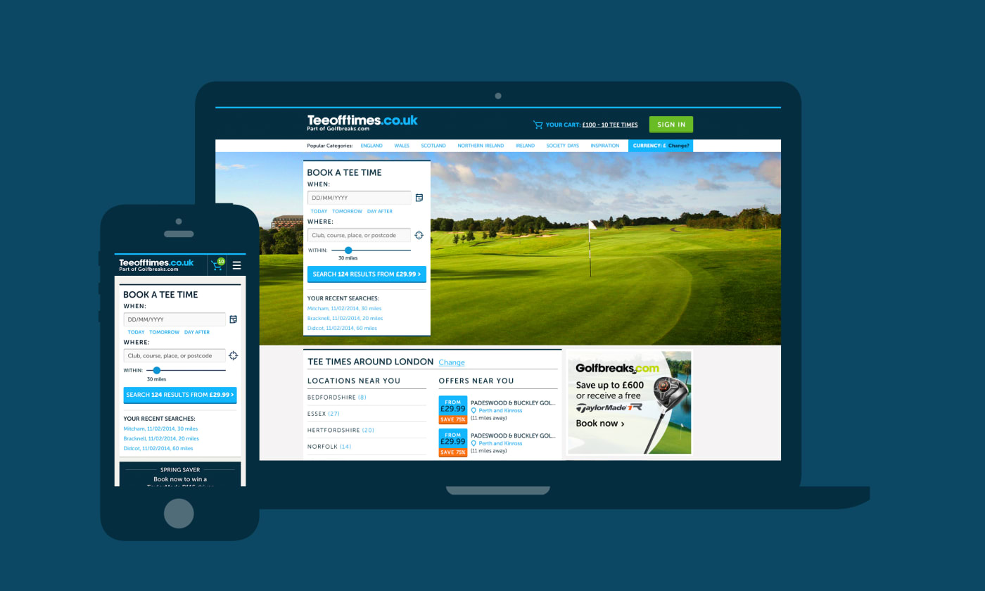 A montage of mobile and desktop screenshots showcasing designs made for the TeeOffTimes website.