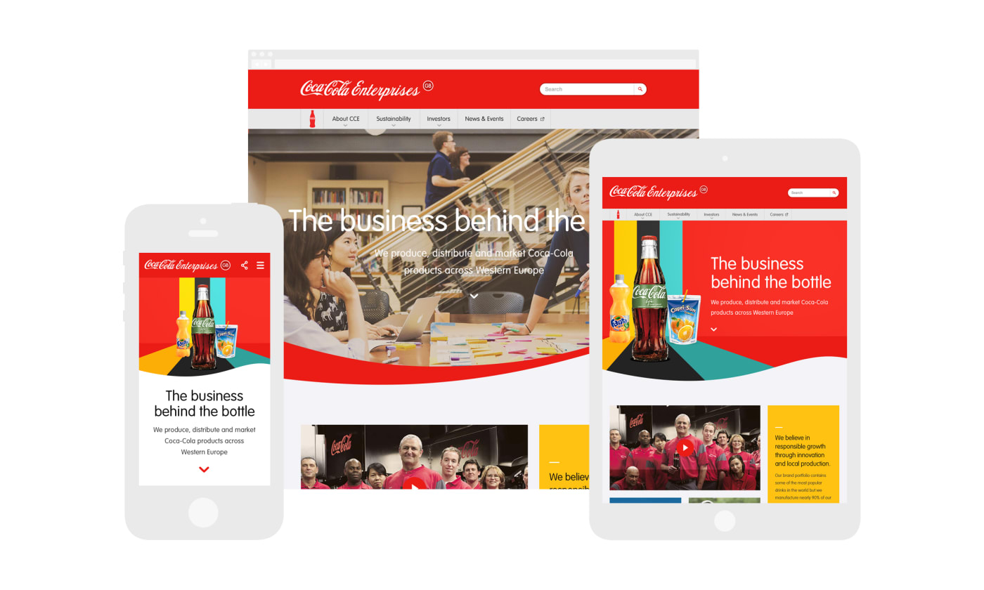 A montage of mobile, tablet and desktop screenshots showcasing designs made for the Coca-Cola Enterprises site.