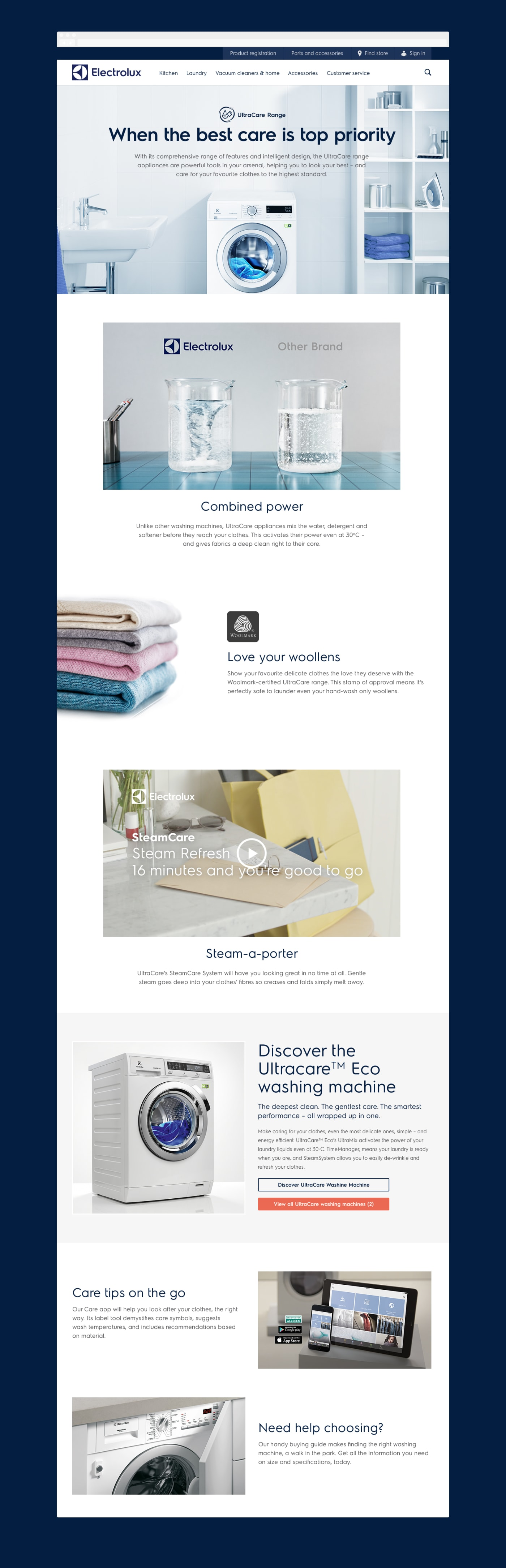 A full view of an image-rich landing screen experience promoting fabric care.