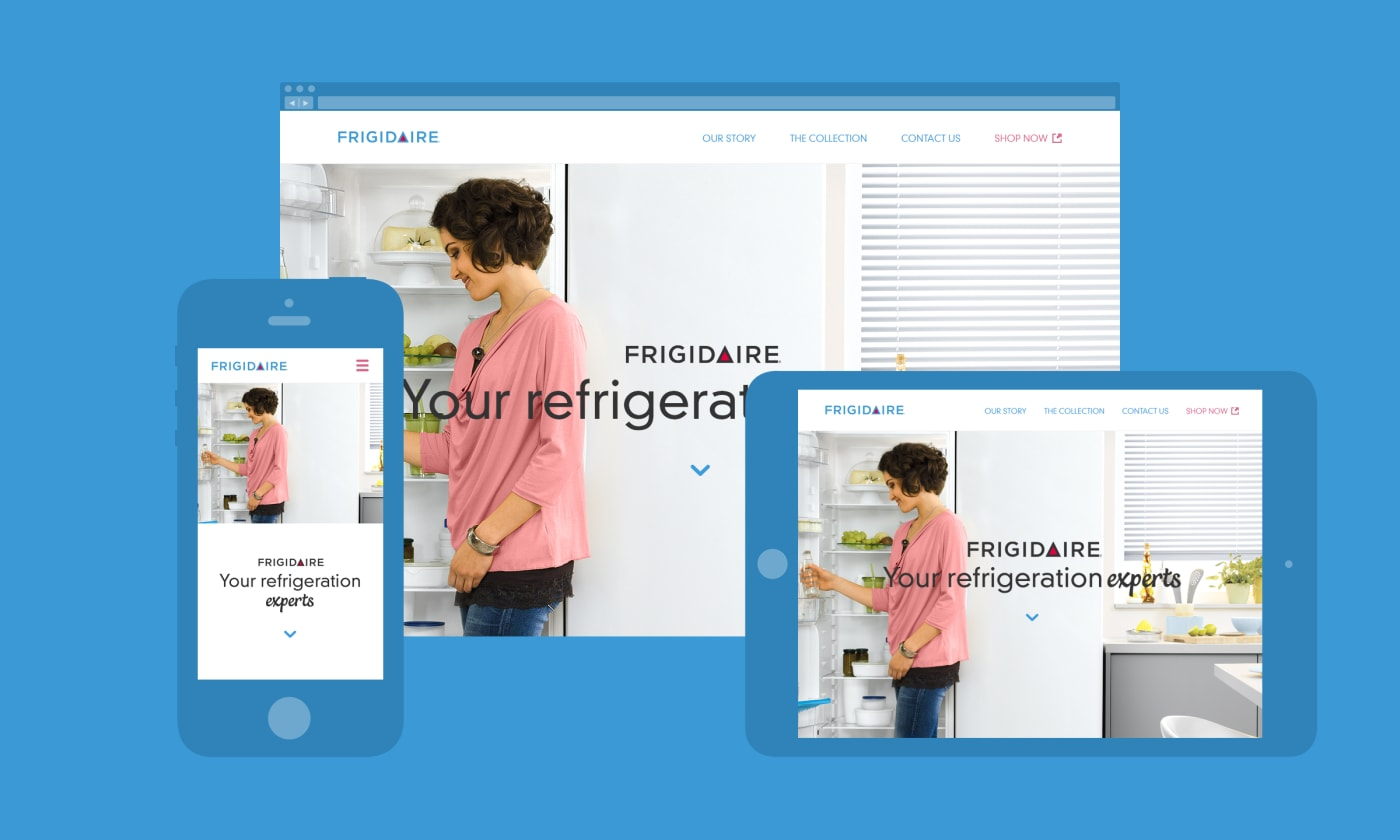 A desktop, tablet and mobile montage of a micro site for Frigidaire UK.