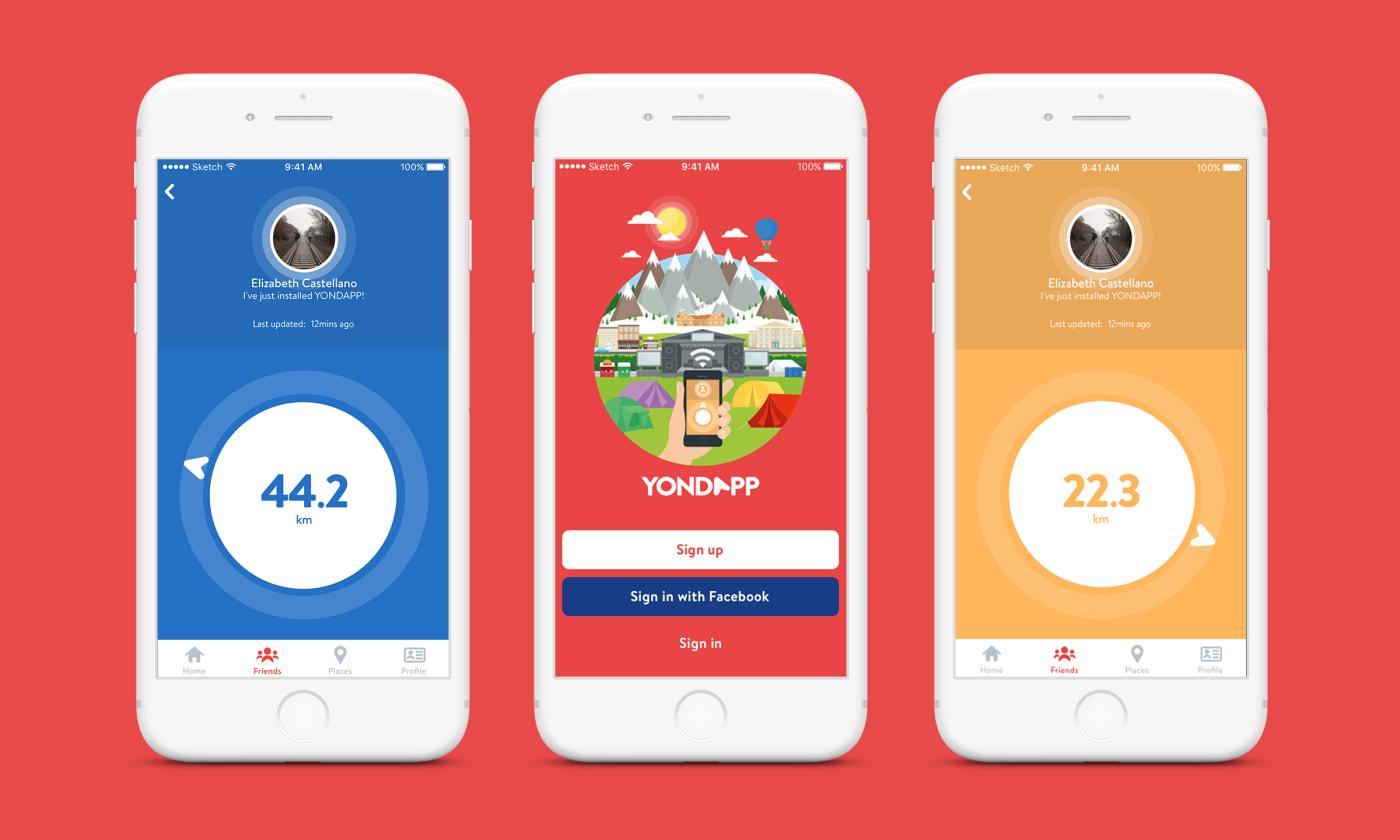 Various screenshots of Yondapp on iOS.