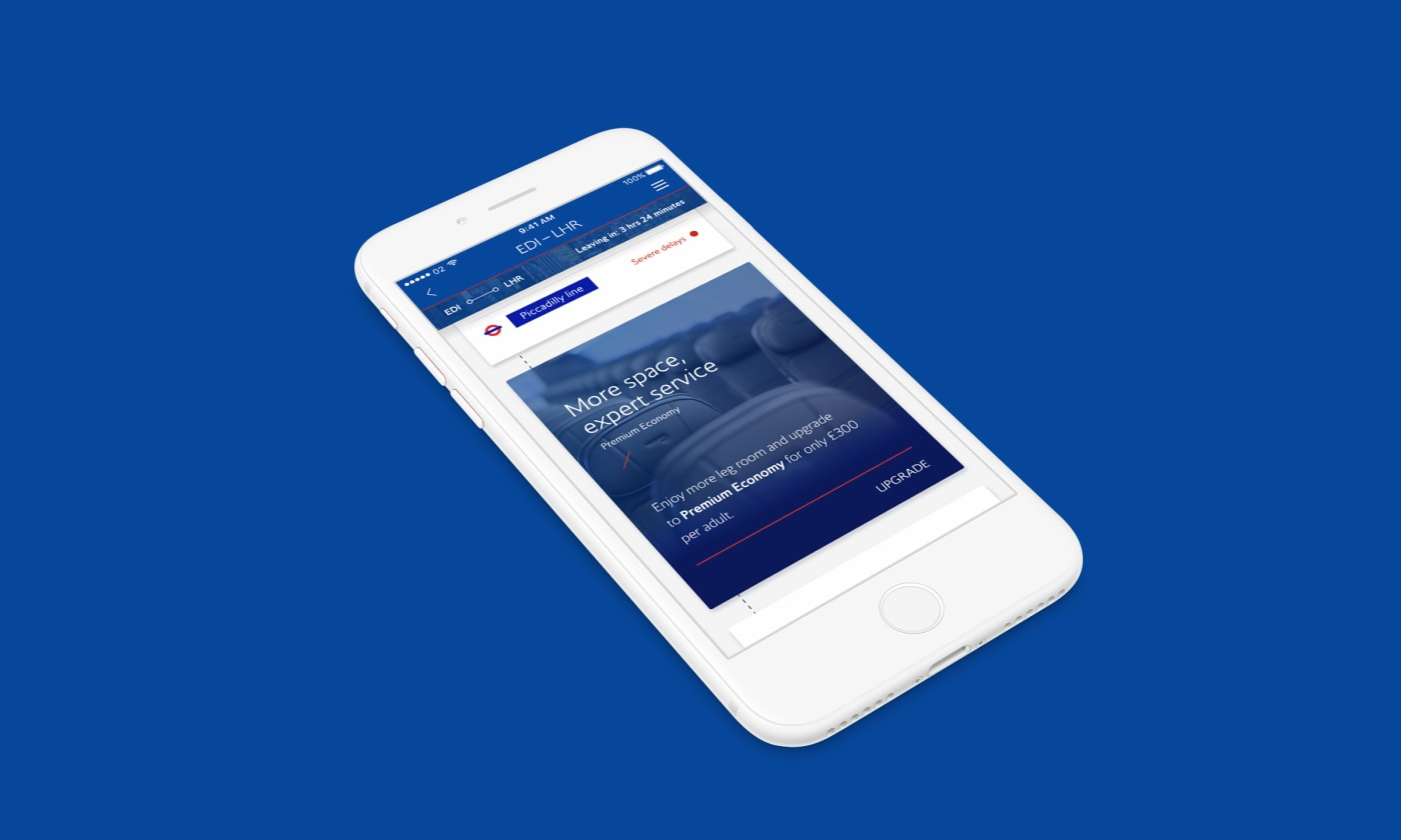 Various screenshots of the updated iOS British Airways app designs.