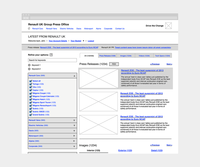 Wireframe for a proposed improvement to the 'Renault UK Press Office' website.