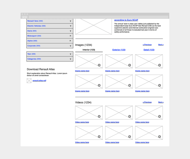 Wireframe for a proposed improvement to the 'Renault UK Press Office' website continued.