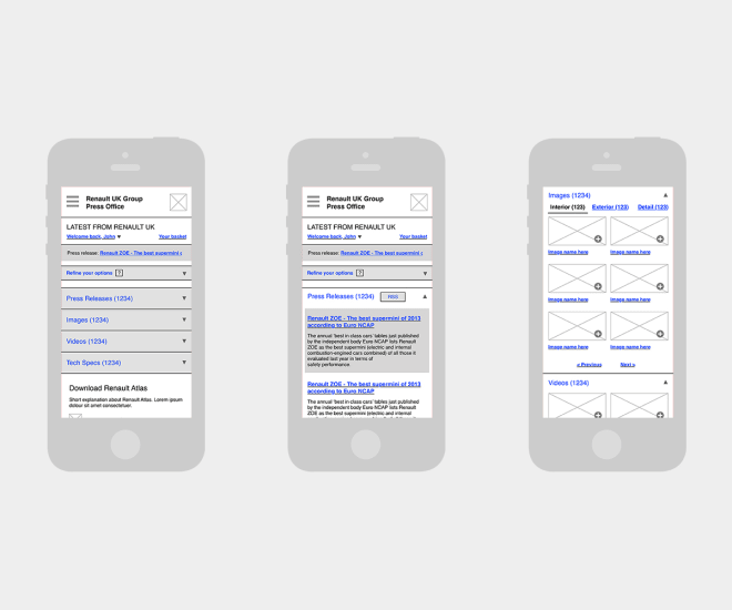 Wireframe in a mobile view for a proposed improvement to the 'Renault UK Press Office' website.