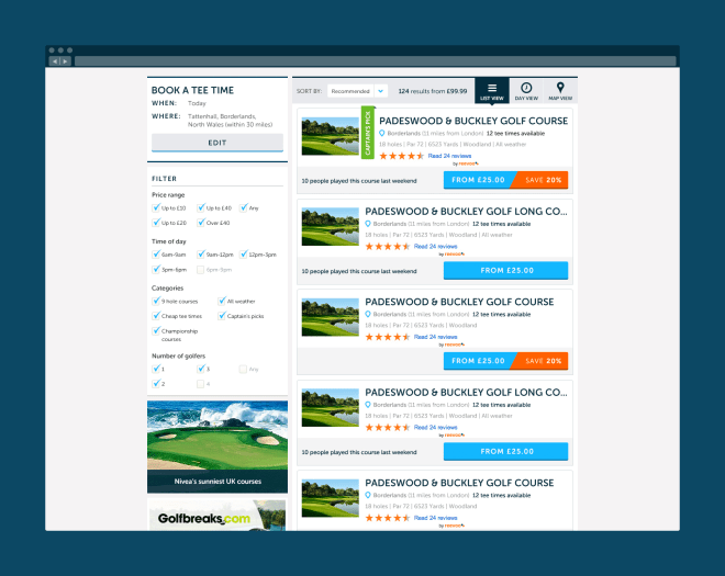 Product listing view for different courses a user could book.