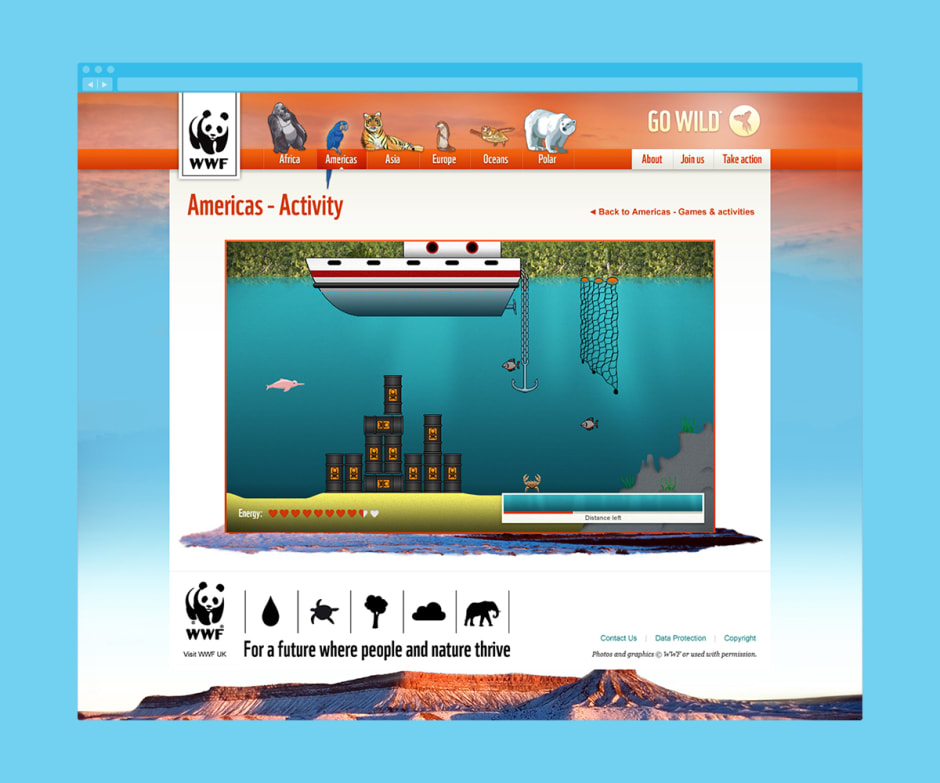 Gameplay for an underwater themed Flash game.