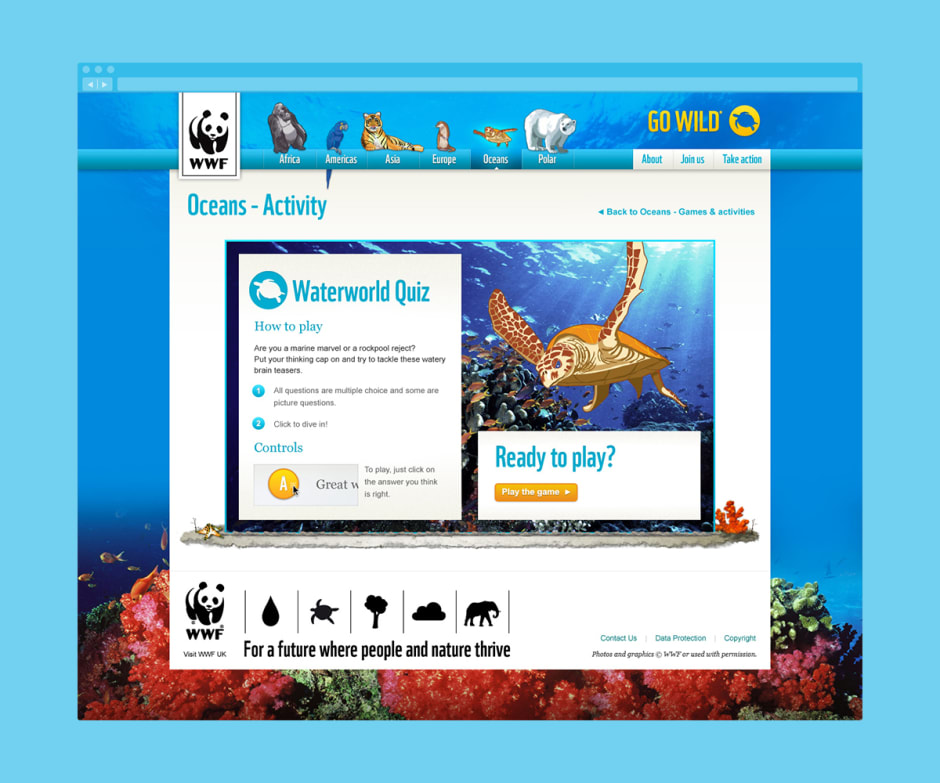 Screenshot of the 'Waterworld quiz' introduction where children could learn about marine life.