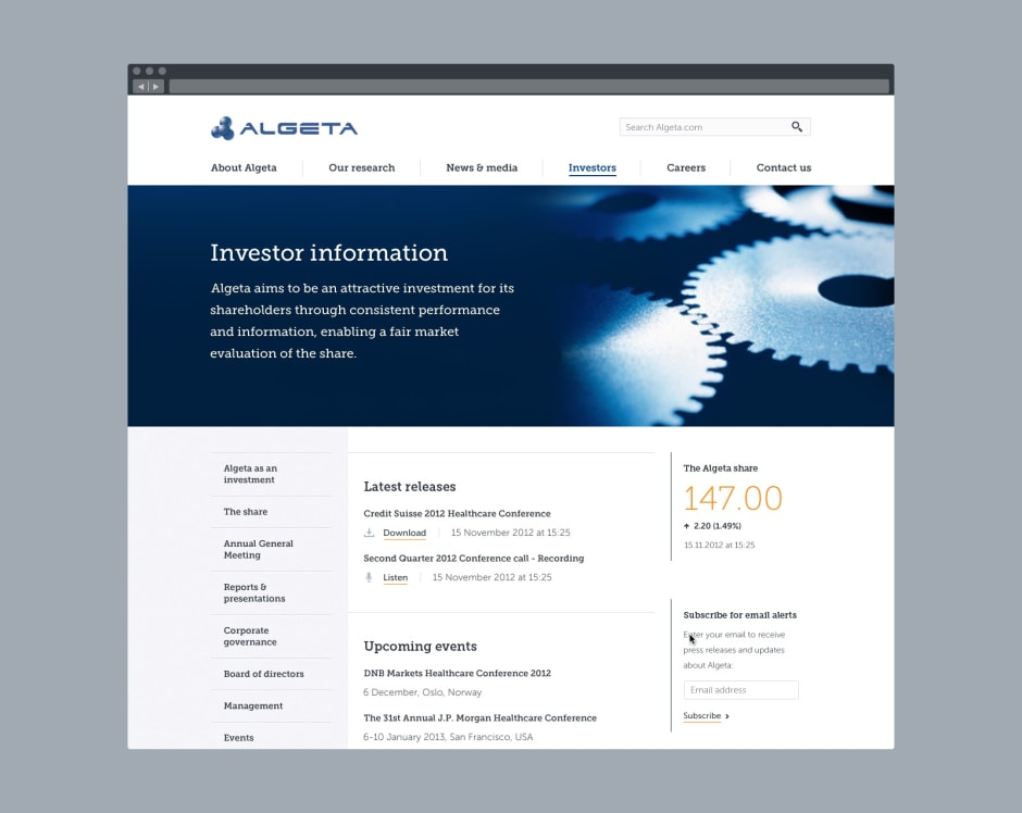 Investor information landing screen.