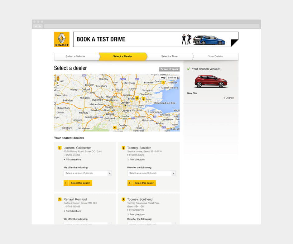 Showing an updated user journey for the 'Book A Test Drive' experience.
