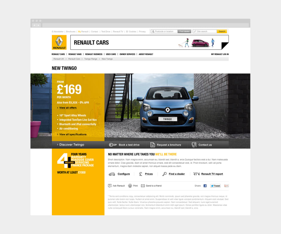 A screen showing an updated and more visual design for the Twingo car range.