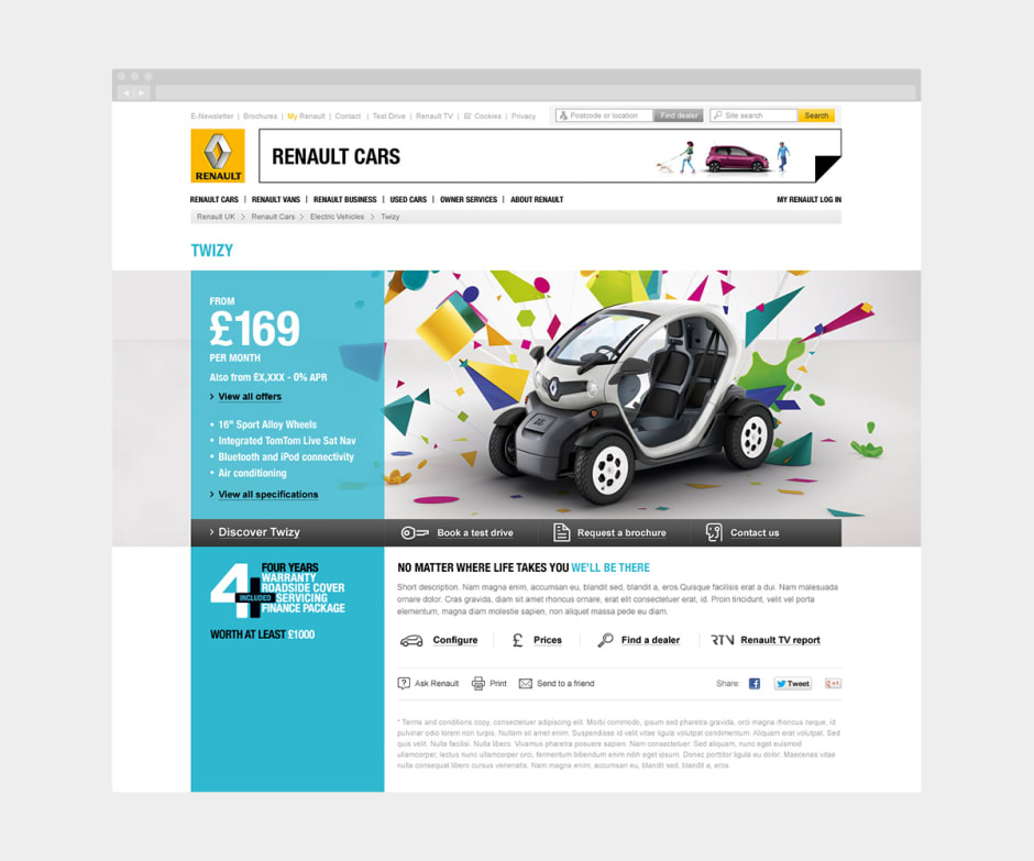 A screen showing an updated and more visual design for the Twizy electric car range.