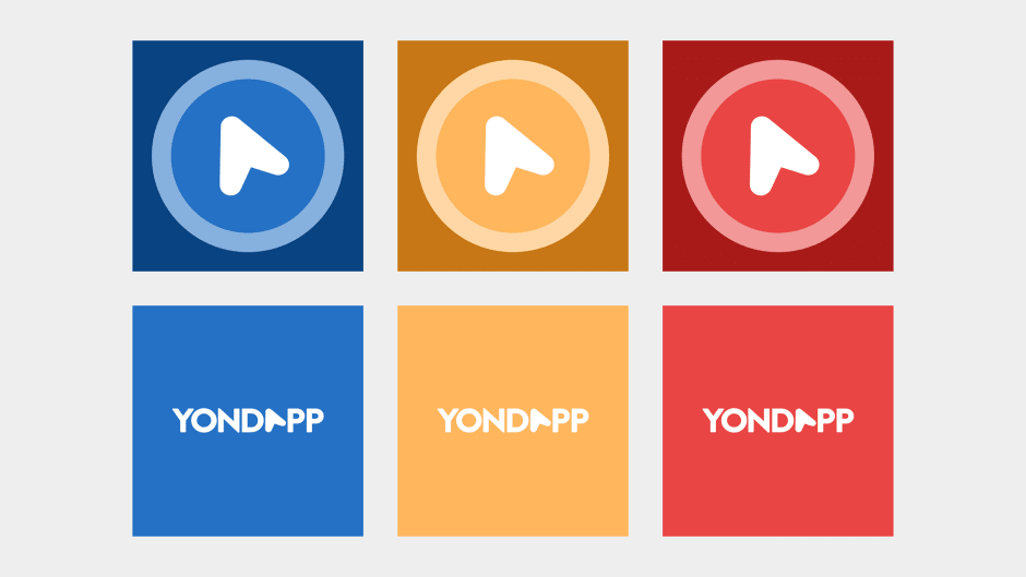 Logomark and logotype variations using the cold to hot colour palette.
