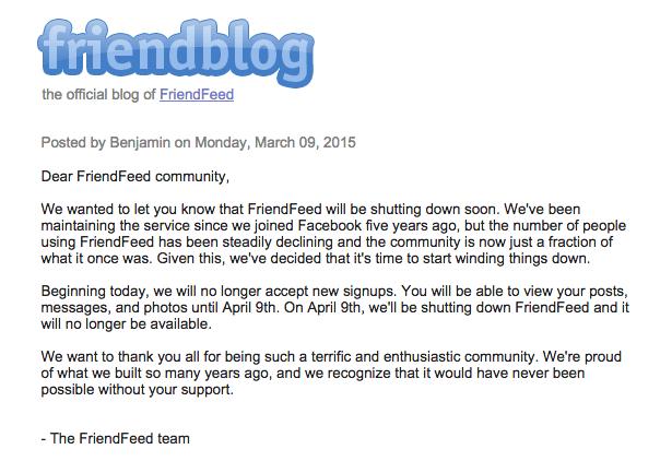 متن وبلاگ رسمی فرندفید در مورد تعطیل شدن این شبکه اجتماعی
