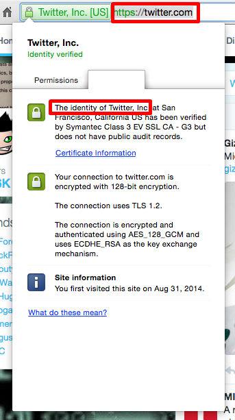 بررسی درست بودن گواهینامه امنیتی توییتر