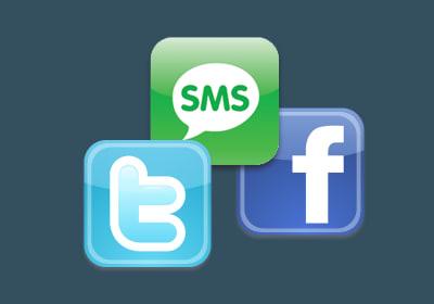توییتر، فیسبوک، پیام کوتاه