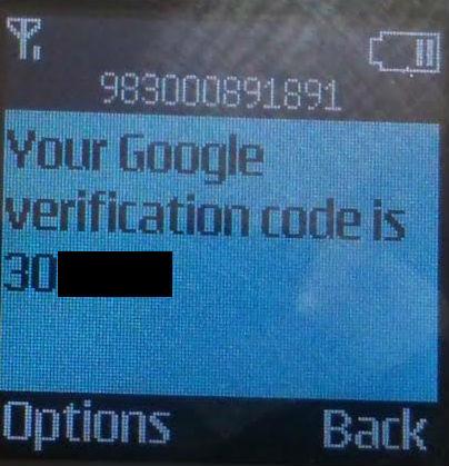 نمونهای از کد تایید ارسال شده توسط گوگل با شماره ایران