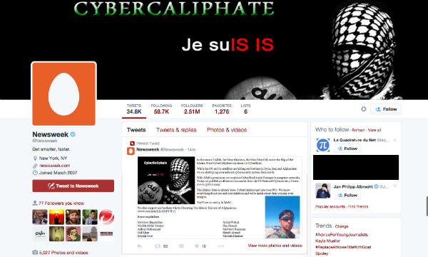 حساب توییتر هفتهنامه Newsweek پس از هک شدن توسط هکرهای حامی داعش