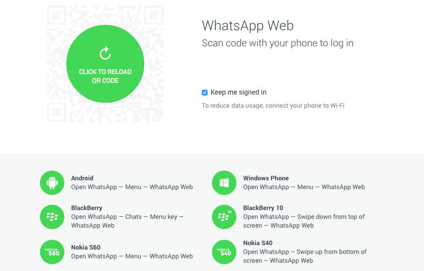 نسخه وب واتساپ
