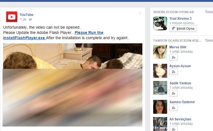 نمونهای از انتشار فلش پلیر جعلی در فیسبوک