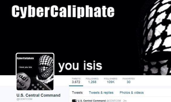 تصویری از حساب توییتر هک شده مرکز فرماندهی ارتش آمریکا توسط هکرهای حامی داعش